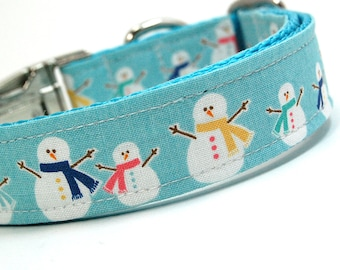 Handmade Dog Collar - Happy Snow People - Winter Dog Collar - Teal Collar with Snowmen and Scarves - Snowman collar