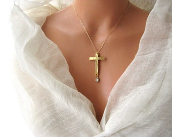 22K gold plated Cross with crystal rhineston pendant necklace, faith, holy, spiritual