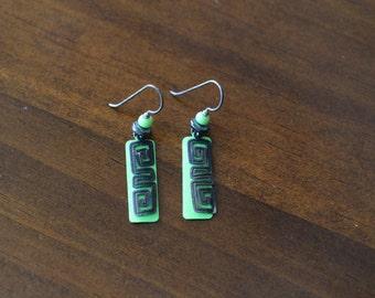 Sterling Silver Green Spiral Earrings