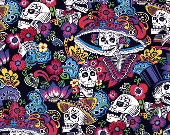 Folklorico Dia De La Catrina - Alexander Henry Fabric - day of the dead, flowers ( Yard or Half Yard )
