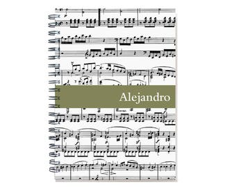 Personalized Music Journal, Musician Gift, Musician Notebook, Music Teacher Present, Staff paper, Lesson Book, SKU: music