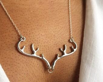 Deer Necklace, Silver Antler Necklace, Stag Necklace, Elk Necklace, UK Seller
