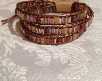 Autumn Wrap Bracelet, Compare to Chan Lu, , Czech Bead Leather Bracelet, Most Popular item, Popular Jewelry, Compare to Chan Lu