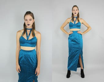 90s turqoise SILK cage cut out bustier + skirt 2 piece set M