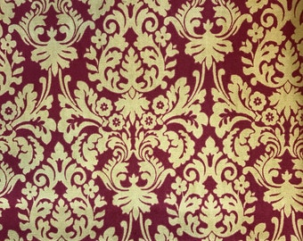 Home Decorator Fabric - Red and Gold Fabric by Waverly -  1 1/2 yards
