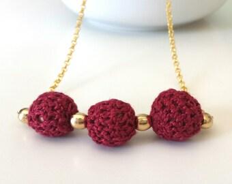 Boho necklace crochet, Beaded necklace boho, necklace handmade, Beaded statement crochet necklace, knitted necklace, Crochet necklace red