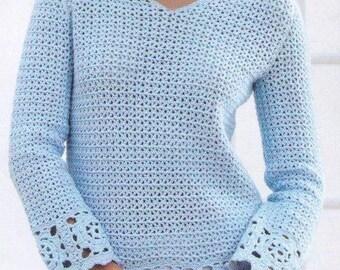 PDF Women Crochet Sweater Pattern /Women Sweater Pattern/Sizes 32-40