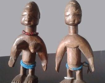Vintage-Folk art Collectible dolls-Twins Ewe Venavi-ethnic dolls Africa authentic style-deco-2 pieces