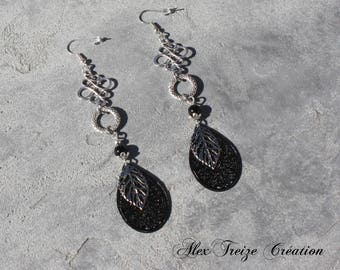 Designer jewelry - Dangling earrings silver Antique charms prints drops and leaves semiprecious black Agate beads
