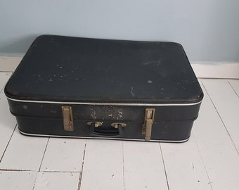 Vintage Cheney Suitcase - Vintage Luggage - Black Suitcase