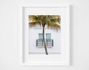 Miami beach photo print - Florida urban photography - White clean minimal art - Modern wall art - 8x10