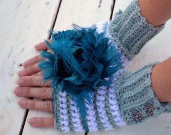 Winter snow flake fingerless gloves, arm warmers, wrist warmers, crochet arm warmers, crochet fingerless gloves, texting gloves, mittens
