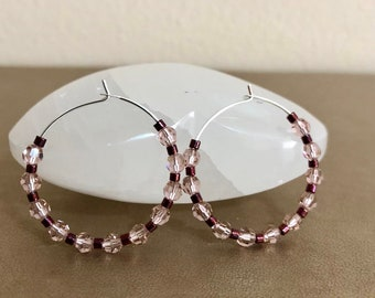 Pink Swarovski Crystals Hoop Earrings