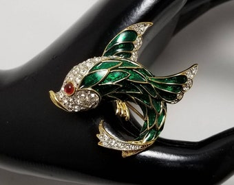 Green Enamel Fish Pin