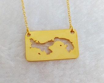 Custom Any Map Necklace,Gold Panama Necklace,Panama Charm Necklace,Personalized Map Necklace,Specific Map Necklace,Worldwide Map Necklace