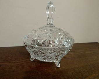American Brilliant Cut Glass 3 Footed Dish