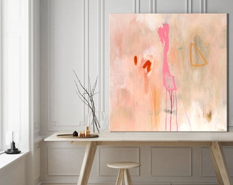 Large abstract print pink, large abstract painting giclee print, pink pastel abstract art, print, large abstract canvas art, pink and white