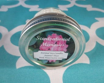 Pink Watermelon Candle-Scented Soy Candle- 4 oz Candle Summer Candle- Gift Idea