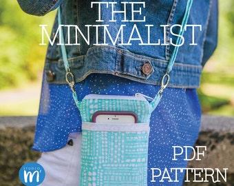 The Minimalist - PDF Sewing Pattern - Small Cross body Bag - Wristlet - Mini Messenger - Cell Phone Purse - Phone Case Wallet