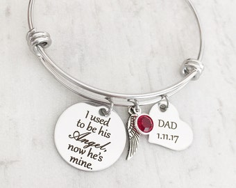 Loss of a Dad - Sympathy Jewelry Gifts - Loss of a Parent- Remembrance Bracelet - Memorial Necklace - I used to be his Angel now he's mine