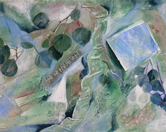 Greenery Aspen Collage- Original Mixed Media on Paper- Are We There Yet- 15x22- Green, Blue, White- Horizontal