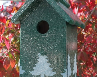 Unique one of a kind handcrafted Bird house Outdoor wood, oil finished stenciled - Christmas scene- Made in USA fully functional