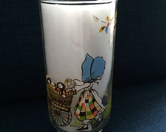 vintage glass tumble, holly hobbie style  girl in calico dress, baby carriage country girl, box c