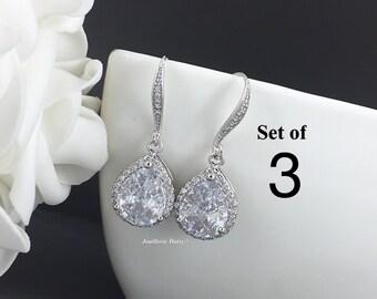 Set of 3 Wedding Earrings Dangle Earrings Drop Earrings Bridesmaid Jewelry Gift for Her Maid of Honor Gift Matron of Honor Gift from Bride