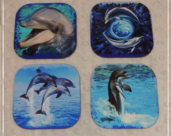 set of 4 coasters glass Dolphin