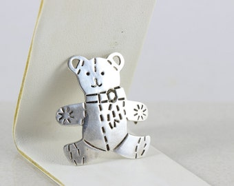 Sterling Silver Teddy Bear Brooch Pin