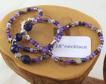 18 inch Napa Grape purple Czech crystal and seed bead choker necklace