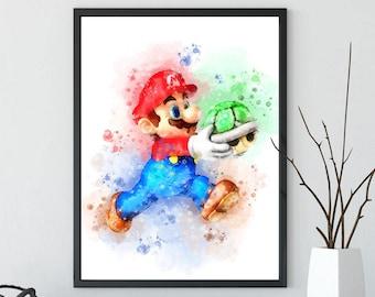 Super Mario & Yoshi Art Print, Watercolor Art Print, Nintendo Poster, Nursery Wall Art, Super Mario Bros, Mario Printable, Instant Download