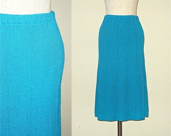 Vintage 70s skirt TURQUOISE knit knee length - S/M