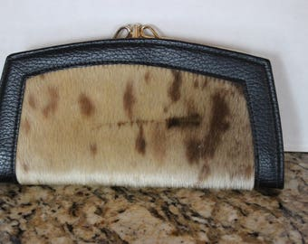 Vintage Cowhide Pony Hair Wallet with Change Purse
