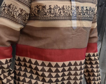 Men's Handmade Indian Woven Cotton Lined Long Sleeve Banded Round Collar Warm Dress Shirt - Brown Tan Village Diamond - Casama I930