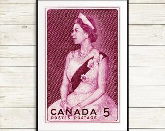Queen Elizabeth 2, Queen Elizabeth II, the queen, crowned queen, Queen Elizabeth poster, Queen Elizabeth print, vintage Queen Elizabeth