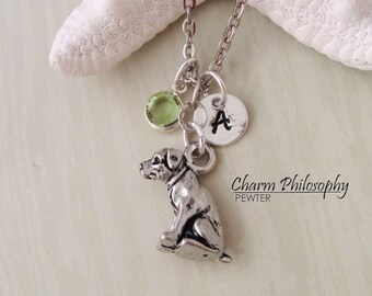 American Pitbull Necklace - Personalized Initial and Birthstone - Silver Pewter Jewelry - Sterling Silver Jewelry - Sitting Pit Bull Charm