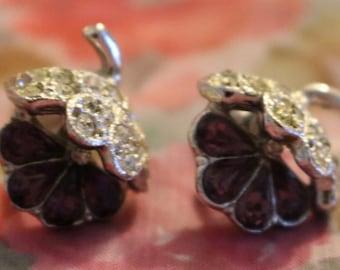 Grape Cluster Rhinestone Earrings