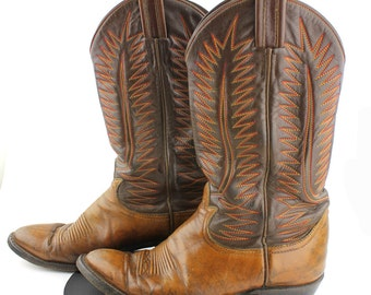Tobacco & Chocolate Brown Leather Cowboy Boots with Orange and Yellow Stitching Women size 6.5