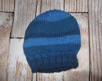 Baby Hat - 6 - 12  months Hand knit acrylic blend  striped
