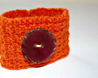 Coffee Cup Cozy, Sleeve, Handmade Orange Cozy, Covers and Cozies, Home and Living, Reusable Cozies, EcoFriendly Cozy, Stocking Stuffer
