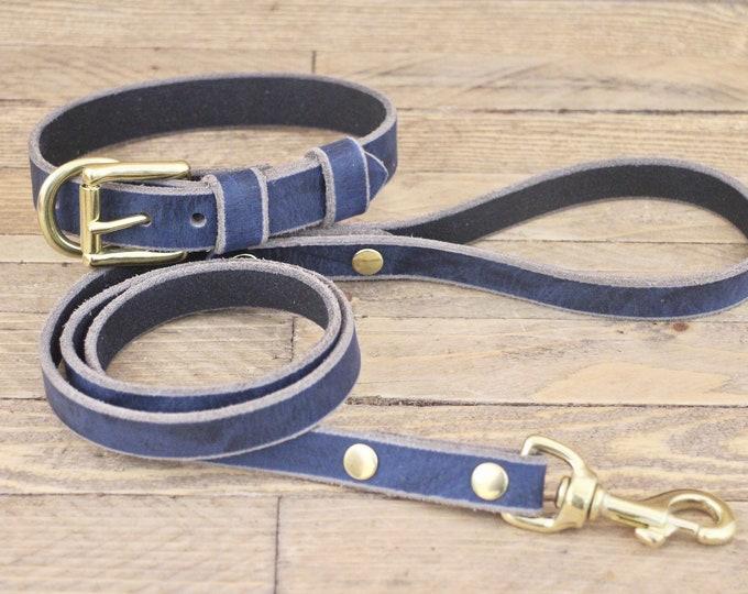 Collar, Leash, Set collar and leash, FREE ID TAG, Dog collar and leash, Broken blue, Brass hardware, Leather collar, Handmade leash.