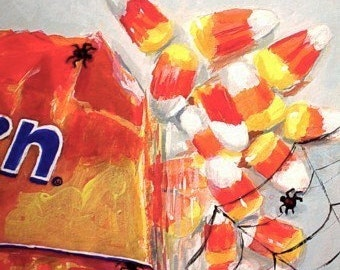 Original Painting - CANDY CORN And SPIDERS - Halloween Art by Rodriguez - Small Art Format