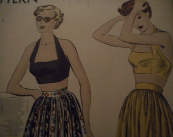 SALE Vintage 1940's Vogue 6769 Halter and Skirt Sewing Pattern, Size 12 Bust 30