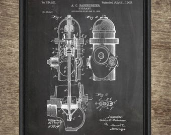 Fire Hydrant Patent | Firefighter Gift | Fire Hydrant Print | Fire Hydrant Blueprint | Fire Hydrant INSTANT DOWNLOAD