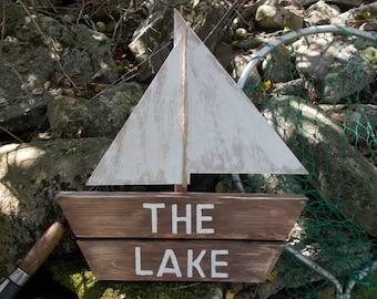 rustic wooden lake decor, lake house decor, lake decor, rustic wall decor, sail boat sign, rustic wooden boat sign
