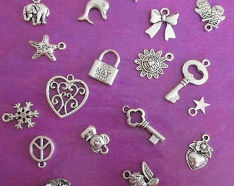 x 20 mixed silver charms 20 different patterns #1