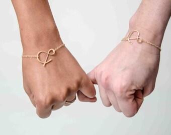 BFF set ampersand rose gold bracelets