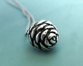 Pine Cone Necklace in Sterling Silver Small Fir, Free Shipping, Gardening Gift