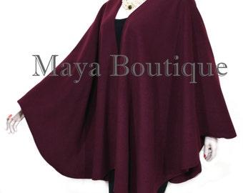 Bordo Cape Ruana Wrap Coat Cashmere Wool Blend by Maya Matazaro Made in USA